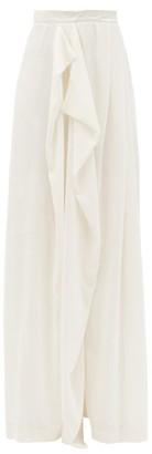 Vika Gazinskaya Draped Wide-leg Velvet Trousers - Womens - White