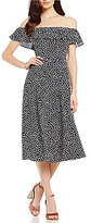 Betsey Johnson Ruffled Off-The-Shoulder Polka Dot Midi Dress