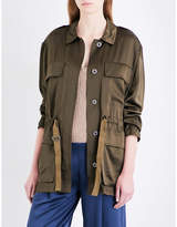 Theory Ladies Vine Green Thornwood Silk-Satin Jacket