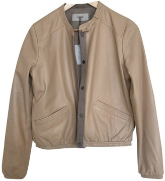 Humanoid Beige Leather Leather Jacket for Women