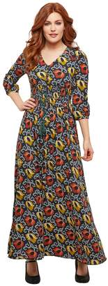 Joe Browns Flared Buttoned Maxi Dress in Floral Print with V-Neck