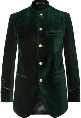 Favourbrook Dark-Green Slim-Fit Nehru-Collar Cotton-Velvet Jacket