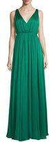 Halston Sleeveless Shirred Chiffon-Overlay Gown, Emerald