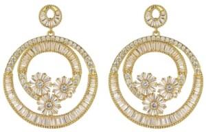 A&M A & M Gold-Tone Flower Hoop Earrings