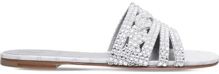 Gina Loren Swarovski-crystal flat sandals