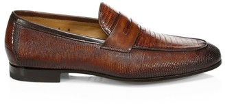 Saks Fifth Avenue COLLECTION BY MAGNANNI Lizard Skin Penny Loafers
