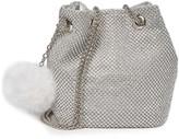 Roberta M Faux Fur Pompom & Mesh Pouch Bag