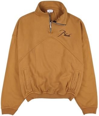Rhude Brown half-zip cotton sweatshirt