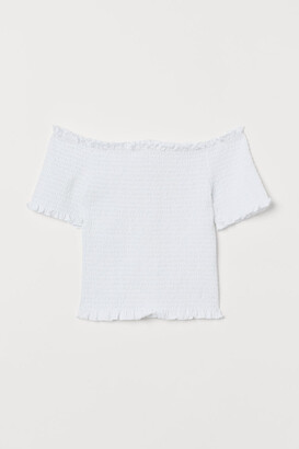 H&M Smocked Off-the-shoulder Top - White