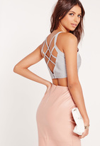 Missguided Criss Cross Strap Back Bandage Bralet Grey