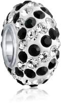 Bling Jewelry 925 Silver and White Stripe Crystal Charm Bead Fits Pandora