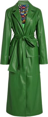 STAUD Ashley Vegan Leather Long Lined Coat