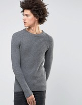 Selected Crew Neck Knit in Chunky Rub with Raglan Sleeve