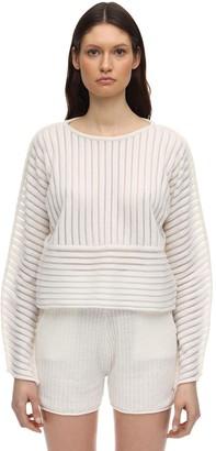 Falke Sheer Striped Wool Blend Knit Sweater