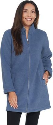 Denim & Co. Petite Textured Fleece Bonded w/ Sherpa Jacket