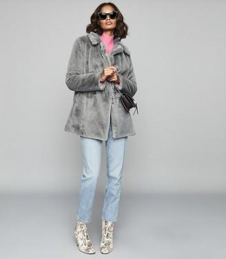 Reiss Lexington - Faux Fur Coat in Grey