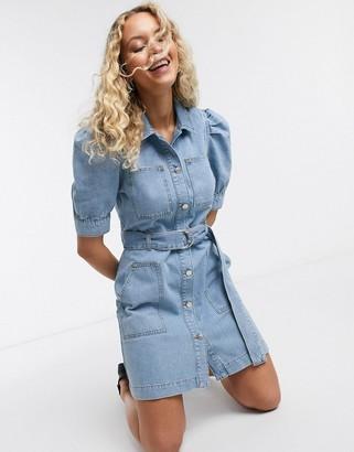 NA-KD puff sleeve belted denim mini dress in light blue