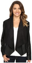 KUT from the Kloth Petite Ana Drape Front Ponte and Faux Leather Jacket