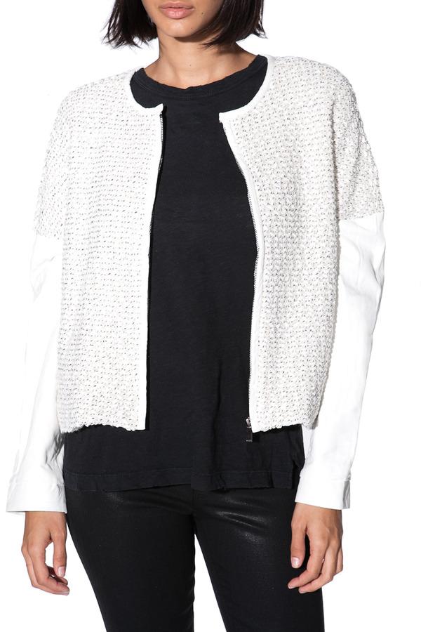 Derek Lam 10 CROSBY Leather Sleeve Knit Jacket