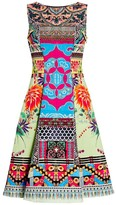 Etro Floral Mosaic Boatneck Midi Dress