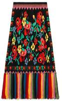 Gucci Wool floral jacquard skirt