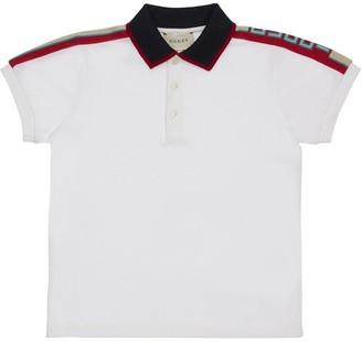 Gucci Stretch Cotton Pique Polo W/ Logo Sripe
