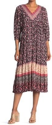 Angie V-Neck Tiered Midi Dress
