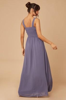 Little Mistress Grace Lavender Grey Embellished Neck Maxi Dress