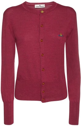 Wool Knit Cardigan W/ Logo Embroidery
