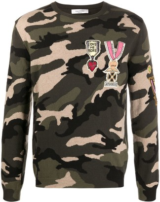 Valentino Camouflage Military Badge Embellished Sweater