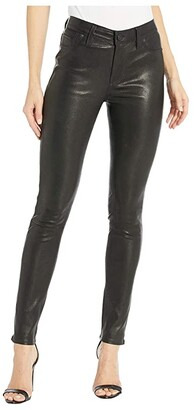 Hudson Nico Leather Mid-Rise Skinny in Black (Black) Women's Clothing