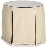 One Kings Lane Eden Round Skirted Table - Bisque - upholstery, bisque; glass, clear
