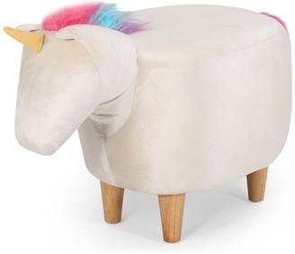 Gdfstudio Chloe Velvet Unicorn Ottoman, Pink