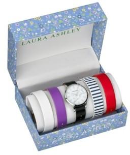 Laura Ashley Silver Slidethrough Interchangeable Marble Dial Set Watch