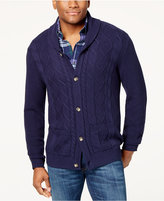 shawl collar & cable knit cardigan men - ShopStyle