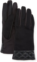 Neiman Marcus Wool & Quilted-Leather Tech Gloves