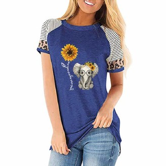 YEBIRAL Short Sleeve Tops for Women Clothes Sale Sunflower Elephant Striped Leopard O-Neck Printed Casual T-Shirt Blue