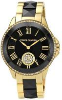 Vince Camuto Women's Goldtone and Black Ceramic Bracelet Watch Embellished with Swarovski Crystals