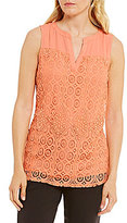 Investments Sleeveless Lace Front Popover Top