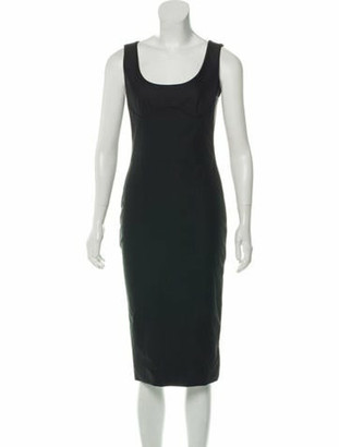 Alexander McQueen Sleeveless Square Neck Midi Dress Black