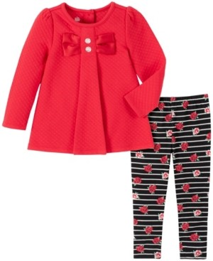 Kids Headquarters 2 Piece Toddler Girls Quilted Bow Tunic with Stripe Flower Print Legging Set