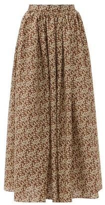 Matteau Gathered Floral-print Cotton Maxi Skirt - Brown Print