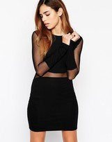 Asos Mesh Panel Dress With Long Sleeves