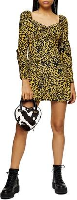 Topshop Animal Tea Long Sleeve Minidress