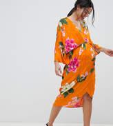 Asos DESIGN Maternity kimono midi dress in bold floral jacquard