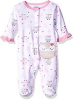 Bon Bebe Girls' Footed Snap Front Coverall with Applique