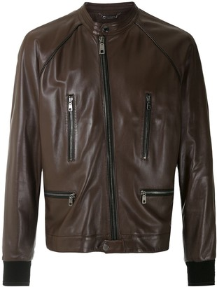 Dolce & Gabbana Band Collar Moto Jacket