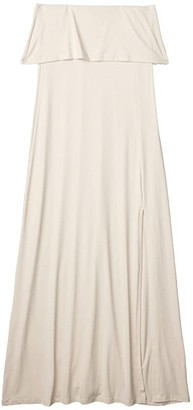 Susana Monaco Lightweight Strapless Overlay Slit Dress (Creme) Women's Dress