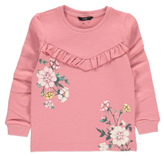 George Long Sleeve Floral and Ruffle Sweatshirt