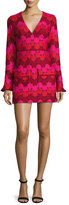 Alexis Annelise Bell-Sleeve Embroidered-Dot Minidress, Aurora
